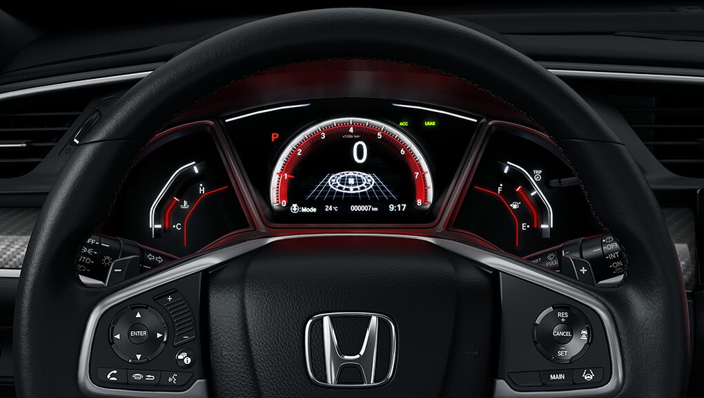 Image of 2017 Civic Hatchback leather wrapped steering wheel