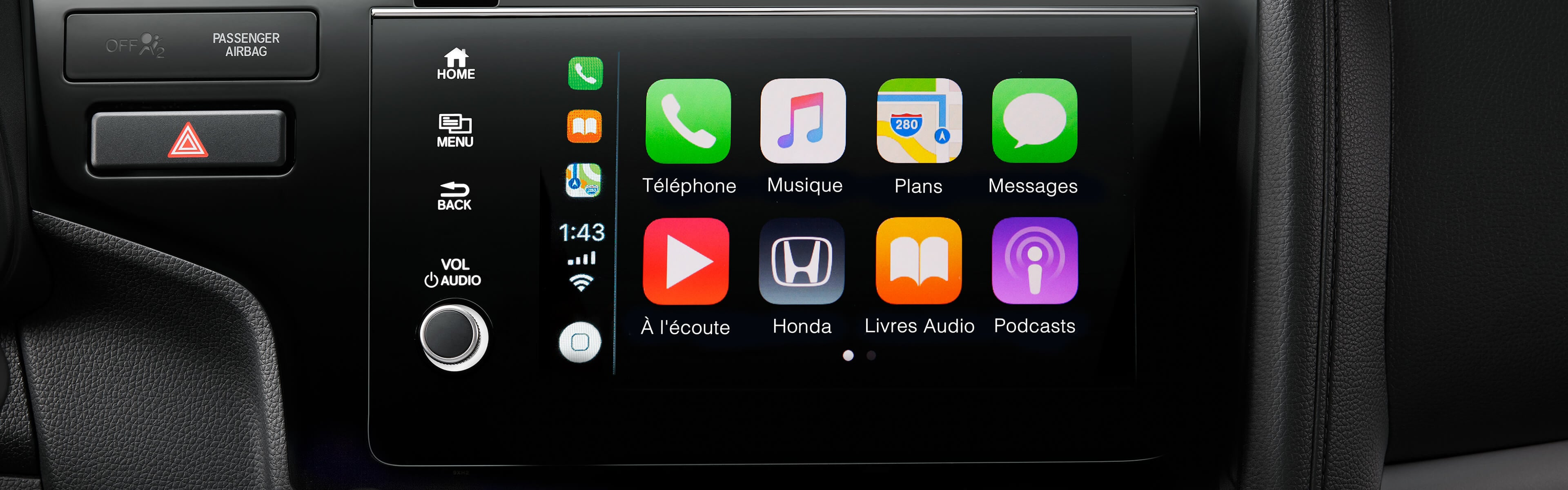Image du système Apple CarPlay de la Honda Fit 2019
