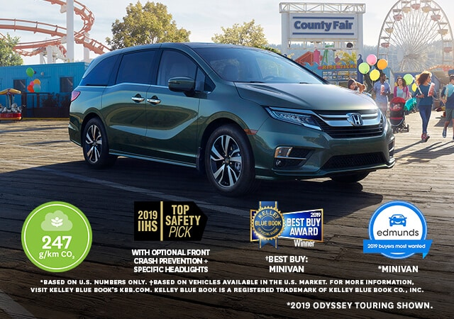 Image of the Forest Mist Metallic 2019 Honda Odyssey at an amusement park.