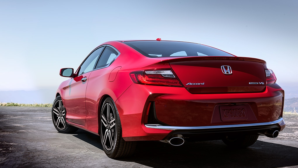 Image of the back of a red Accord Coupe