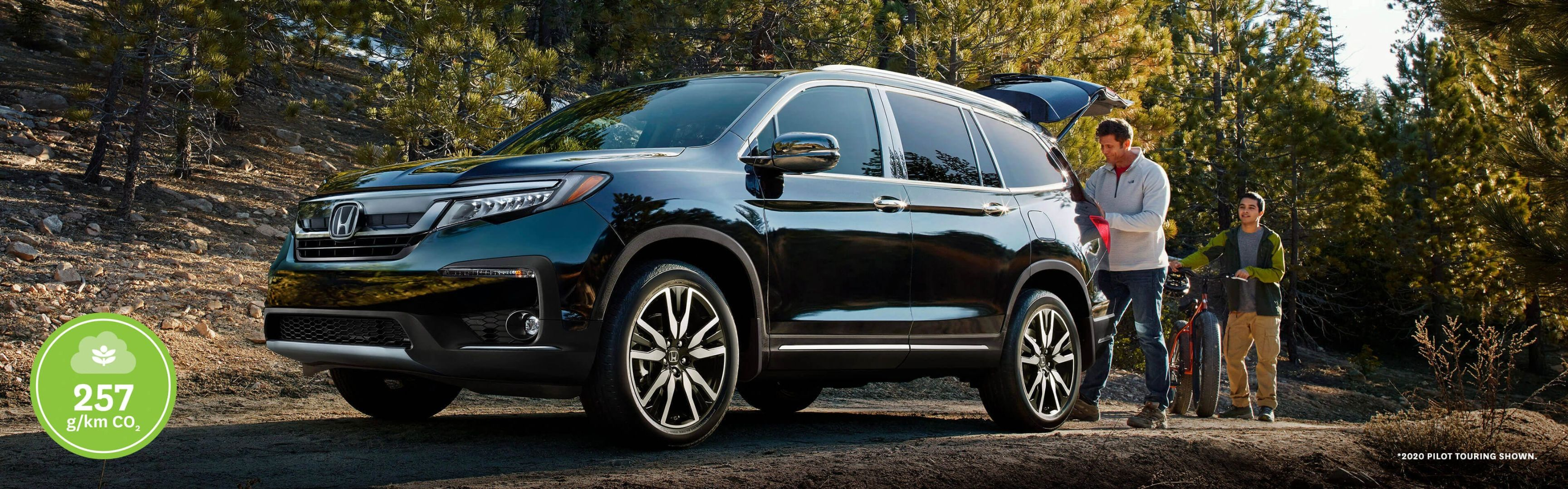 2021 Honda Pilot parked by the shoreline