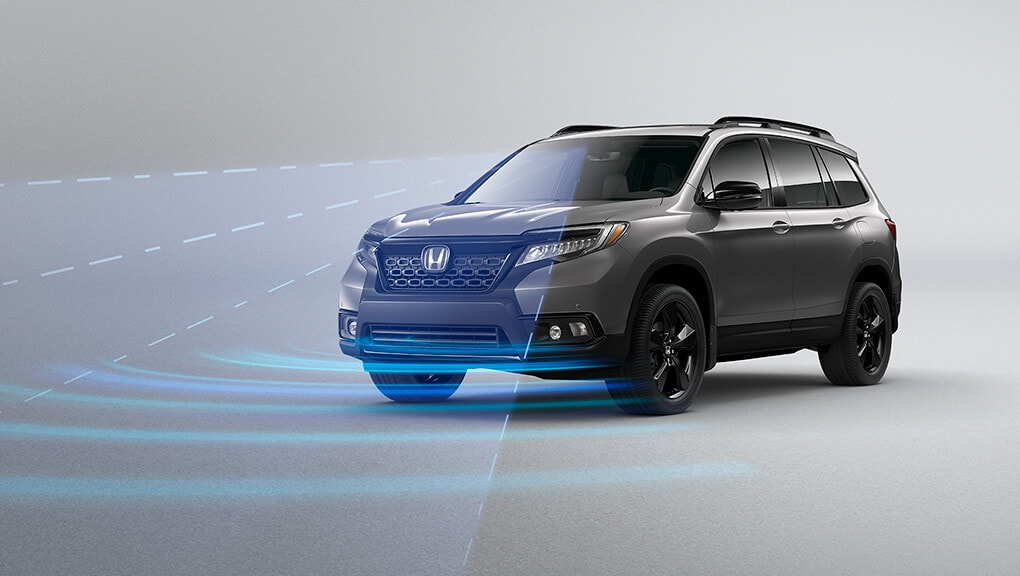 Front 3/4 view of 2020 Honda Passport Forward Collision Warning (FCW) System.