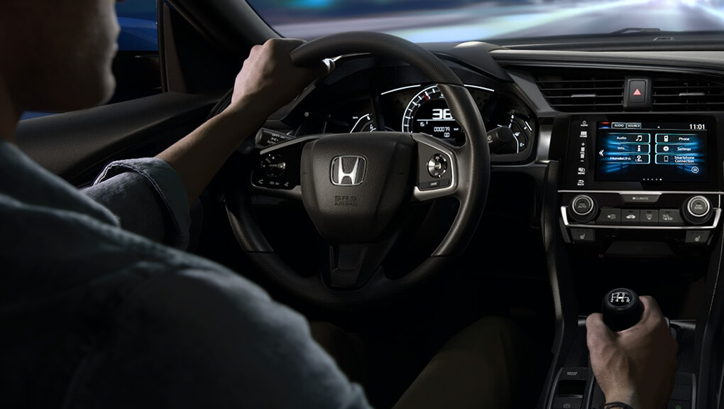 2018 Civic Coupe interior leather-wrapped steering wheel