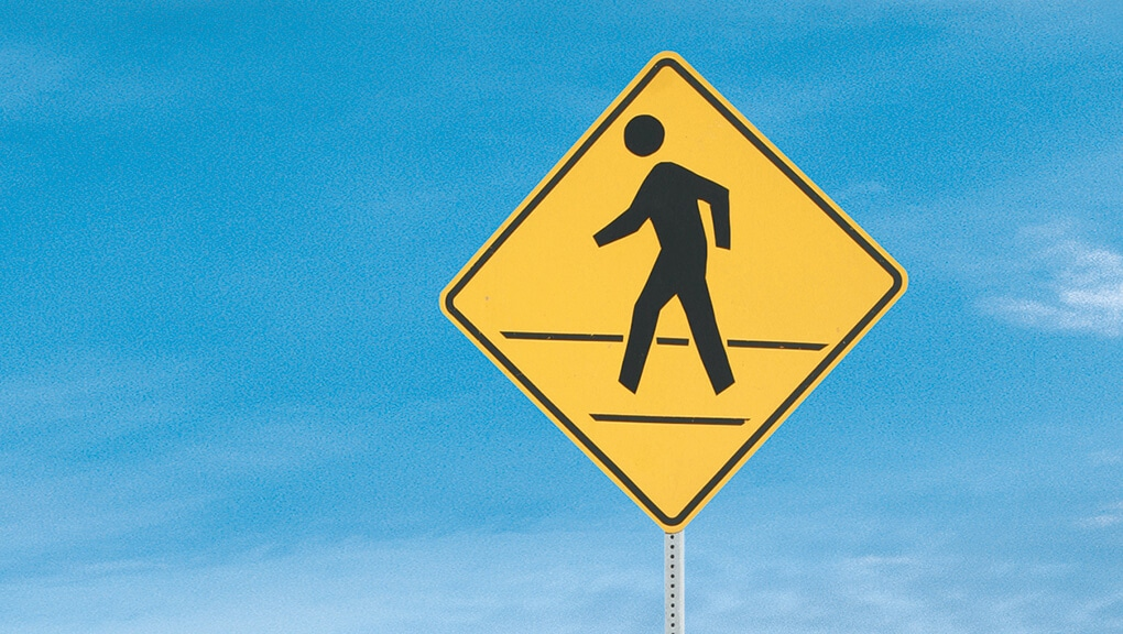 Image of pedestrian crossing sign.